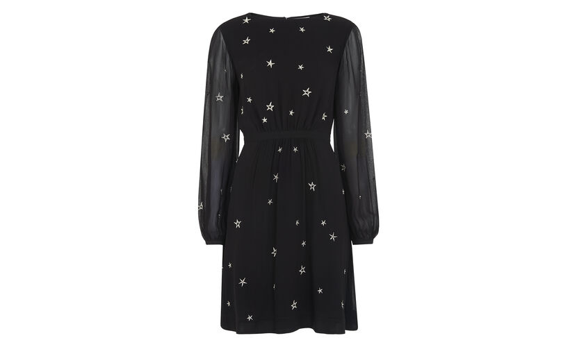 Aria Star Embroidered Dress, in Black on Whistles