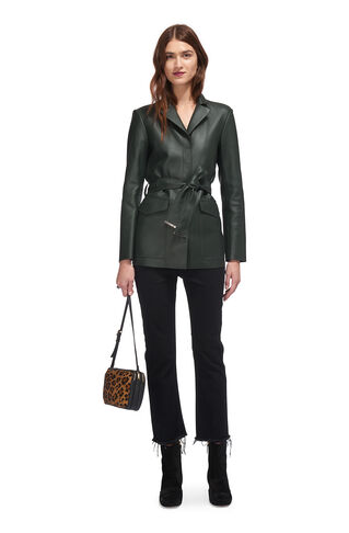 Peggy Leather Jacket, in Green on Whistles