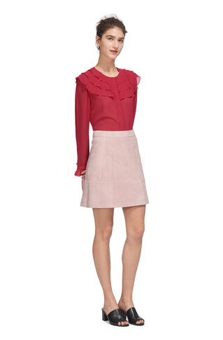 Lizzie Ruffle Silk Blouse, in Fuchsia on Whistles