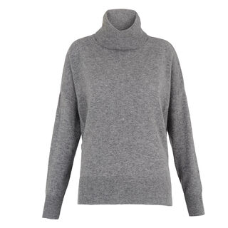 Cashmere Rib Back Roll Neck, in Grey Marl on Whistles