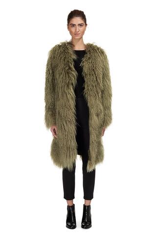 Virginia Sheepskin Coat, in Green on Whistles