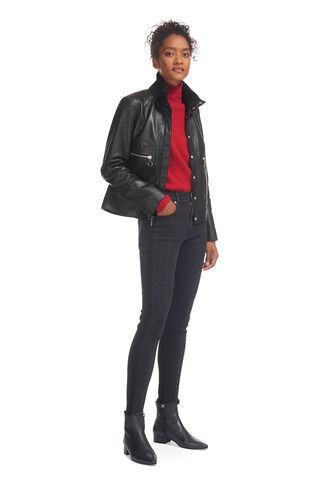 Rib Collar Leather Jacket, in Black on Whistles