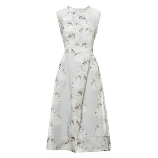 Palm Print Organza Dress, in Pale Grey on Whistles