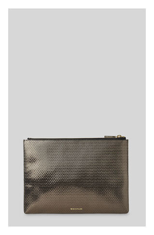 Textured Medium Clutch, in Pewter on Whistles