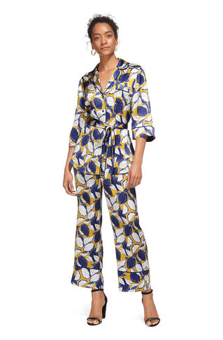 Lemon Print Silk Trouser, in Yellow on Whistles