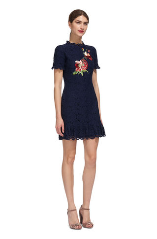 Embroidered Lace Shift Dress, in Navy on Whistles