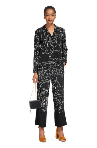 Athena Print Silk Trouser, in Black/Multi on Whistles