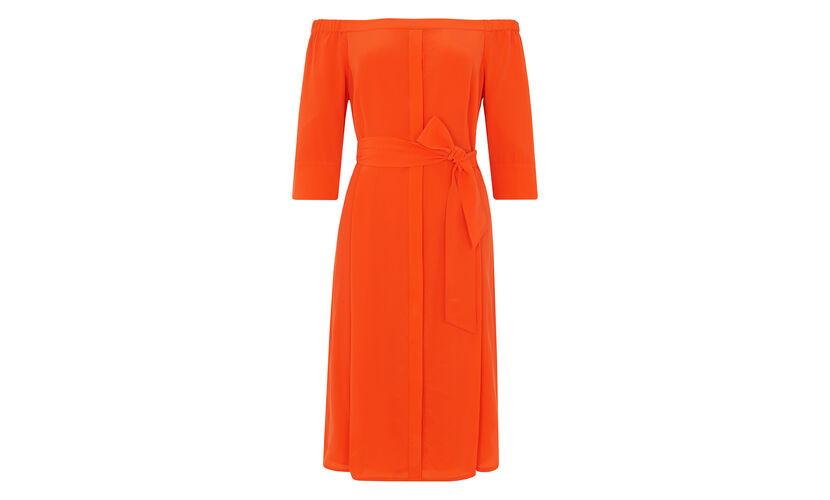 Flavia Bardot Silk Dress, in Orange on Whistles
