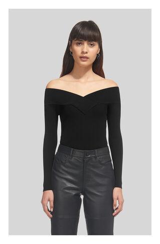 V Neck Bardot Knit, in Black on Whistles