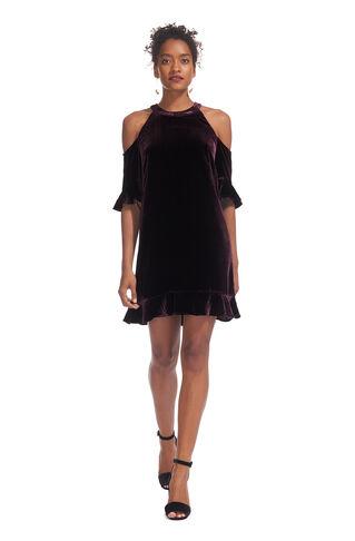 Velvet Cold Shoulder Dress, in Fig on Whistles
