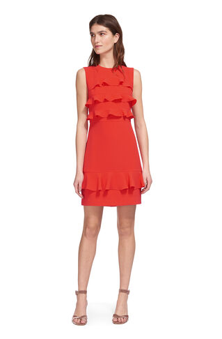 Bea Frill Front Dress, in Coral on Whistles