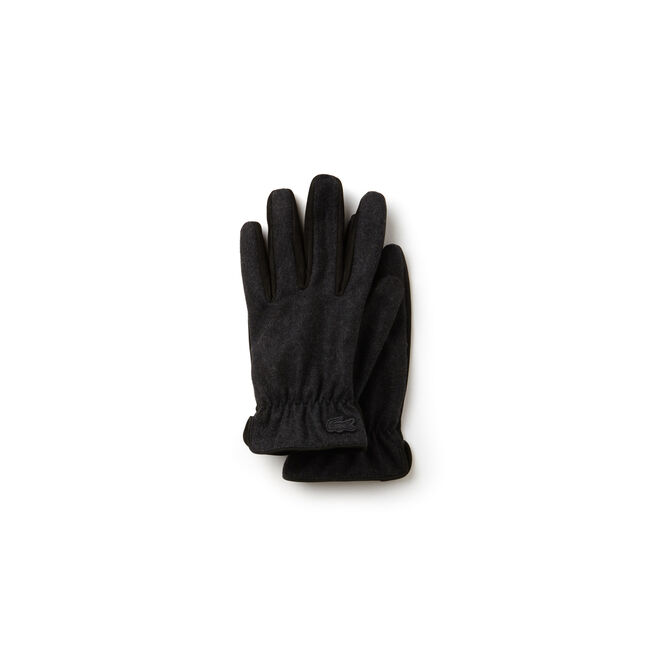 be08fe2104e10f LACOSTE MEN S BICOLOR LEATHER AND WOOL GLOVES